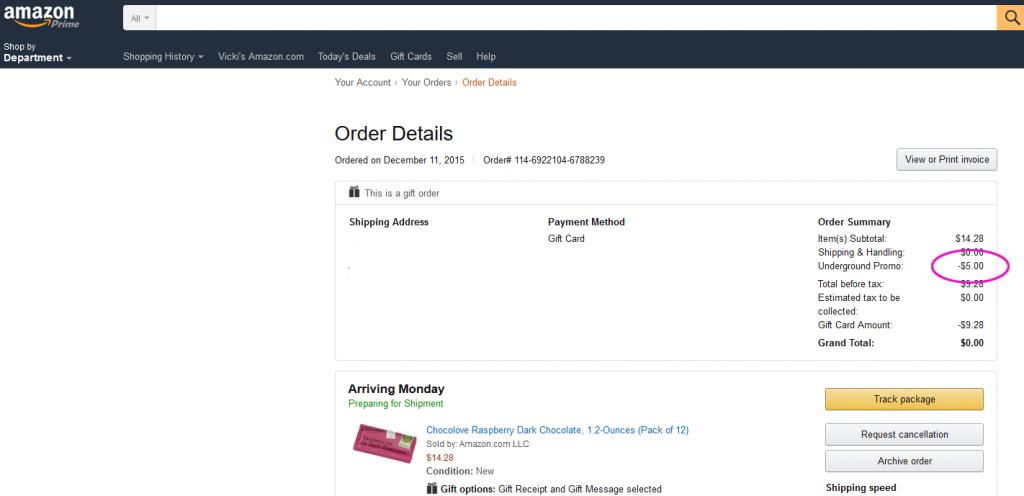 amazon $5 credit screen shot