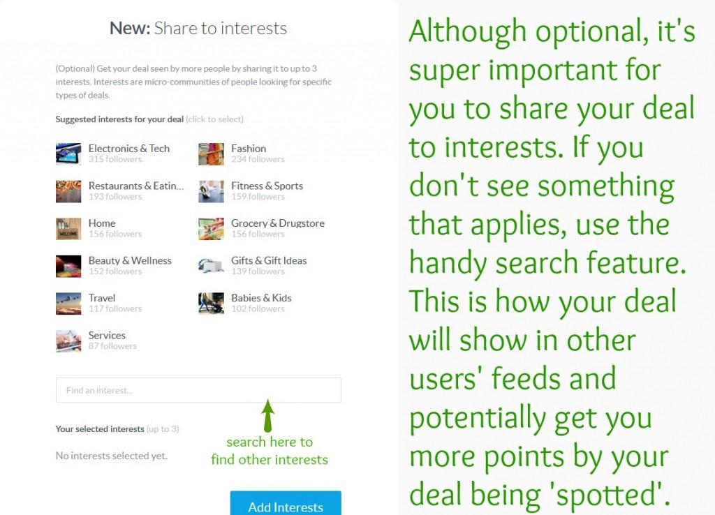 dealspotr interests screen shot