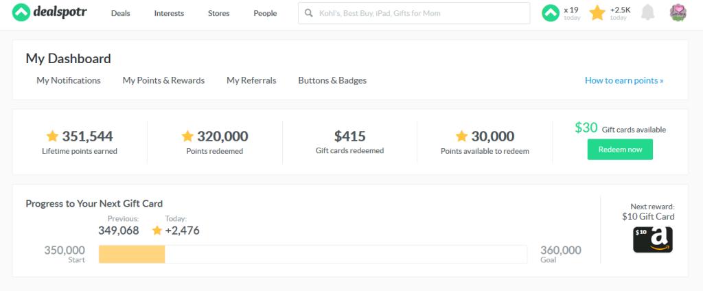 dealspotr rewards screen